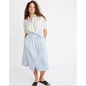 Madewell Tie Palisade Button-Front Midi Skirt